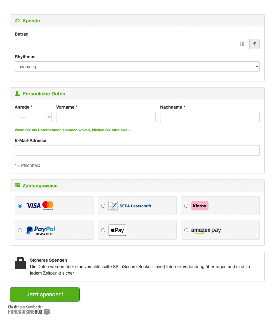 Spendenformular von Fundraisingbox powered by Wikando GmbH